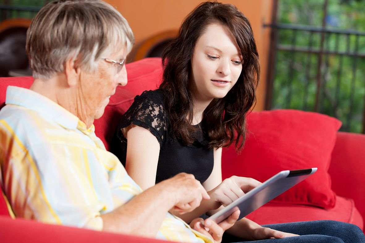 Young carer with elderly lady