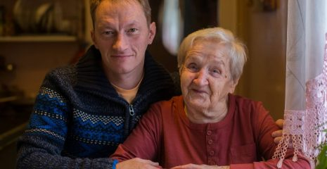 Carer with elderly parent