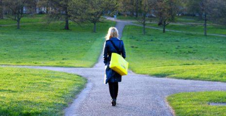 Women walking alone in the park